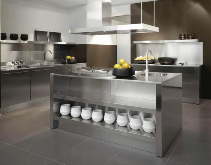 küchenmöbel edelstahl material kücheninsel offene regale