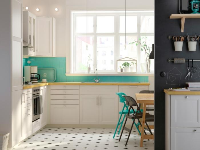küchenmöbel ikea kücheneinrichtung grüne fliesen küche beleuchten