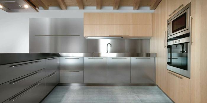 küchenmöbel kücheneinrichtung ideen edelstahl bodenfliesen