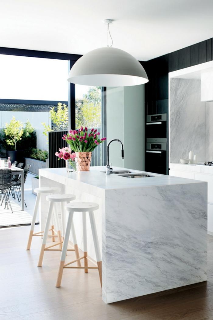 küchenmöbel marmor kücheninsel barhocker tulpen
