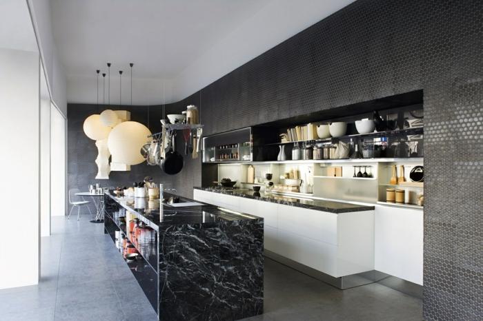 küchenmöbel material kücheninsel marmor offene wandregale
