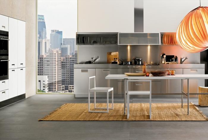 küchenmöbel wohnideen küche edelstahl küchenrückwand teppichläufer panoramafenster