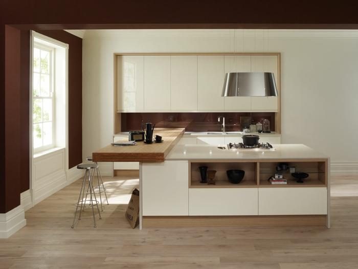 küchenrückwand glas braun kücheninsel farbkontrast