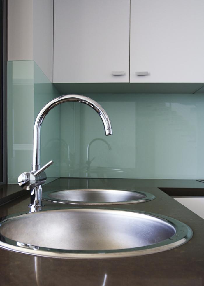 glasrückwand küche hellgrün wohnideen küche