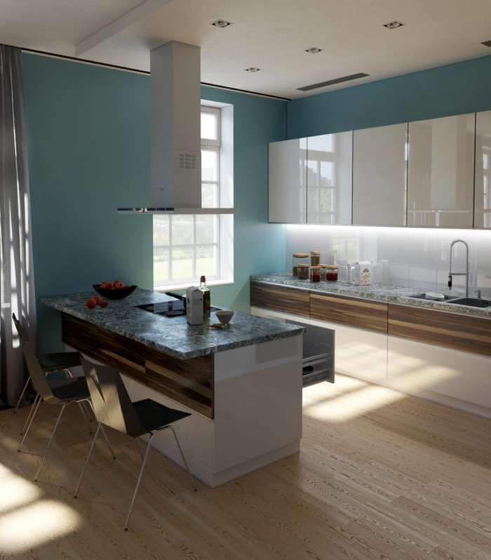 küchenrückwand glas led beleuchtung