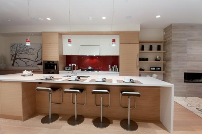 küchenrückwand glas rot kücheninsel pendelleuchten