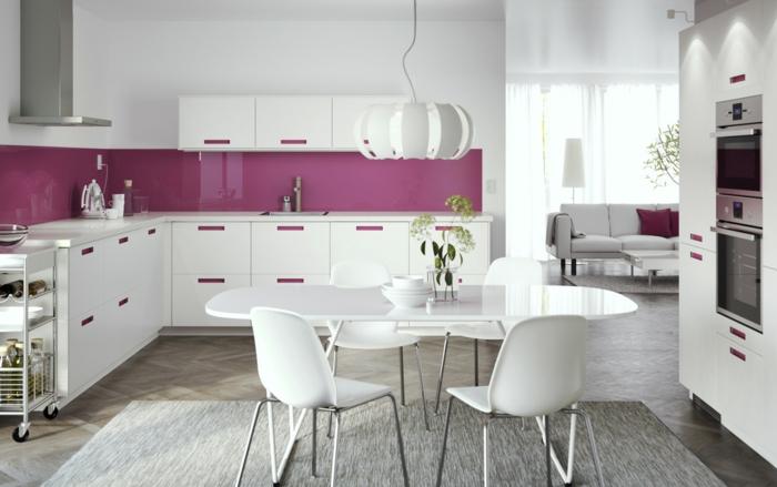 küchenrückwand glas wohnideen küche ikea weiß lila