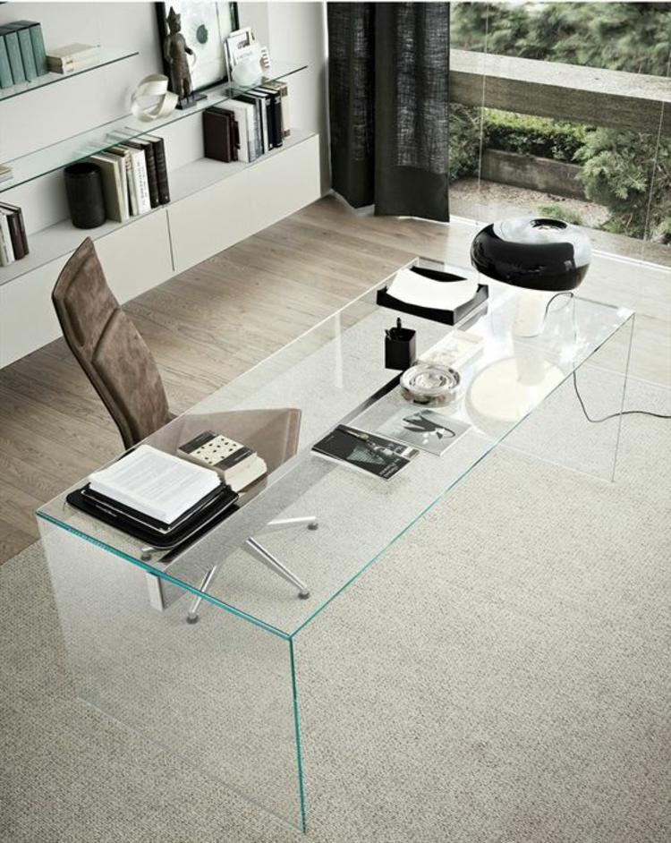 klassische Büroeinrichtung Glasschreibtisch Home Office einrichten