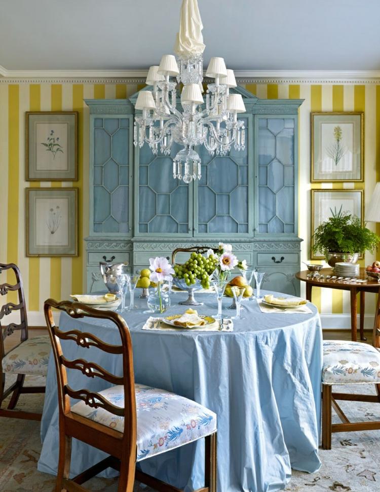 klassisches Esszimmer einrichten Retro Möbel Rundtisch