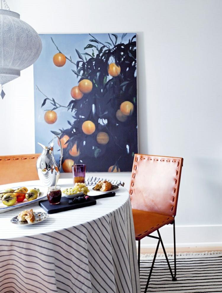 klassisches Esszimmer einrichten Rundtisch Wanddeko Ideen Gemälde