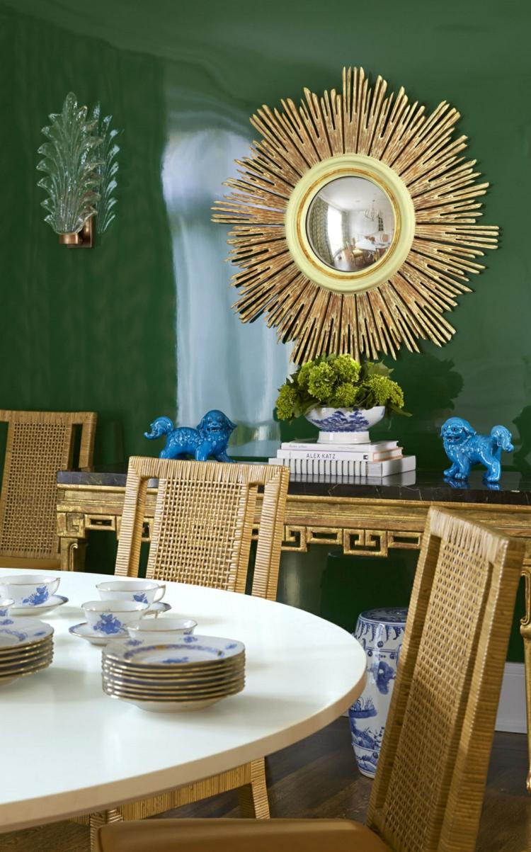 klassisches Esszimmer einrichten Wandspiegel Sonne Esszimmermöbel