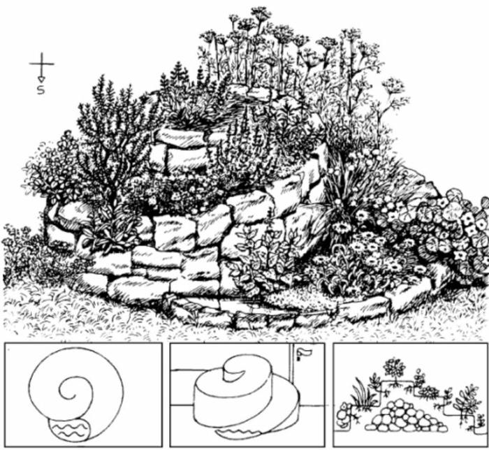 kräuterspirale stein ausrichtung Kräuterspirale bauen