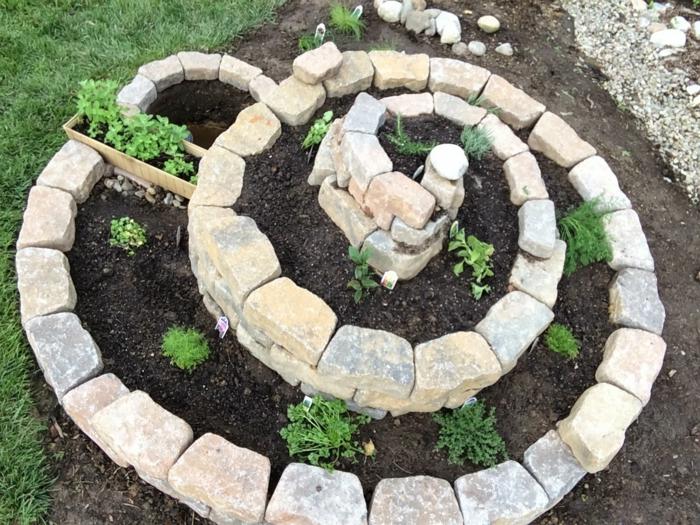 kräuterspirale stein kleine steine evoller blüte backsteine heilpflanzen küchenkräuter von oben Kräuterspirale bauen