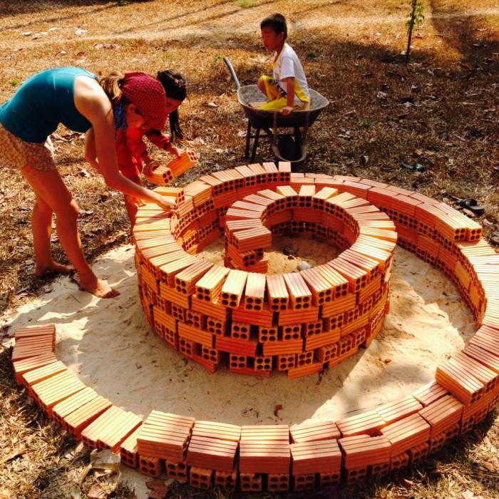 kräuterspirale stein kleine steine voller blüte prächtige arbeit Kräuterspirale bauen