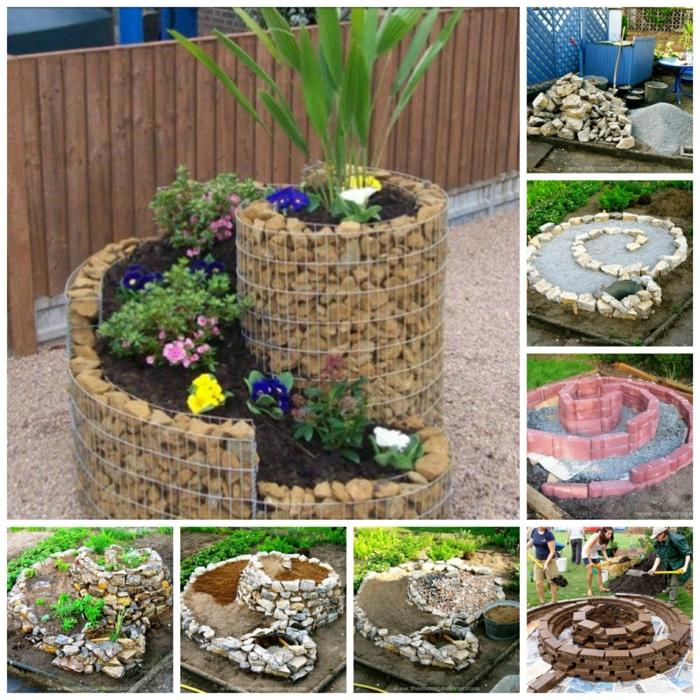 kräuterspirale stein kleine steine voller blüte prächtige beispiele Kräuterspirale bauen