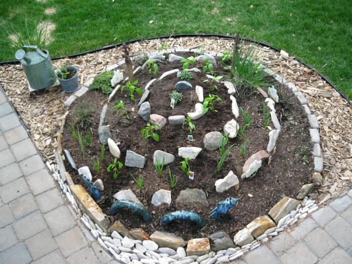 kräuterspirale stein kleine steine Kräuterspirale bauen