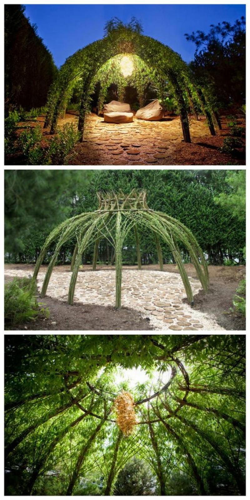 kreative Gartenideen Gartenarbeit Gartenlaube Kletterpflanzen