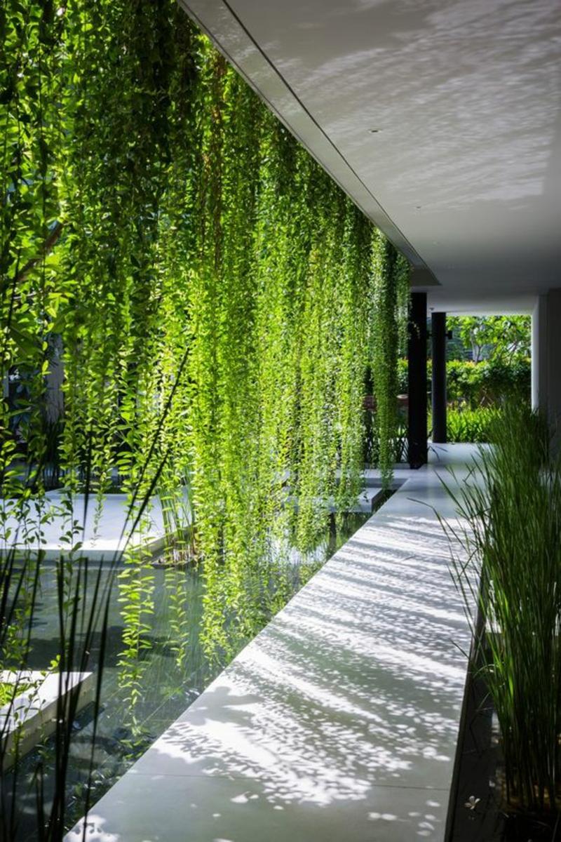 kreative Gartenideen Gartenarbeit Gartenteich hängende Pflanzen