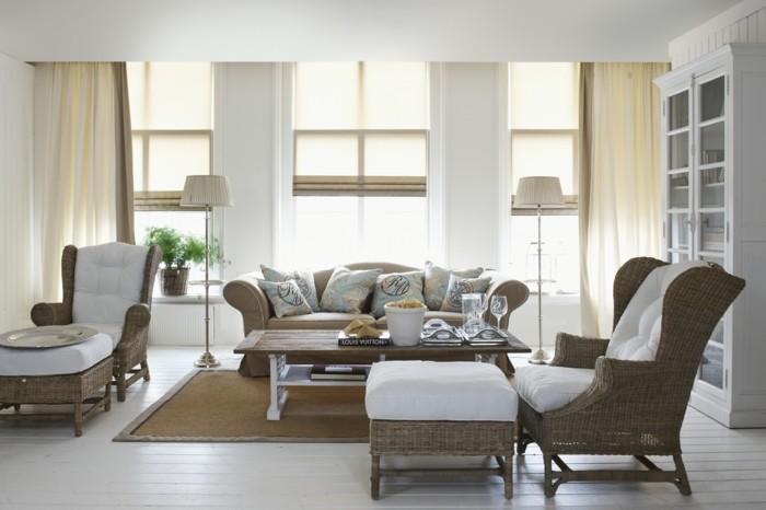 möbel trend wohnzimmer einrichten hocker couchtisch natur rattan