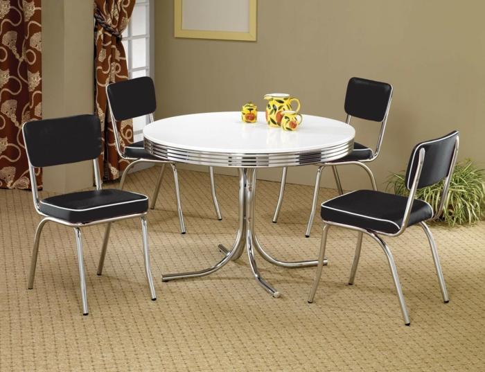 metallene möbel retro stil runder esstisch schwarze stühle kunstleder chrom