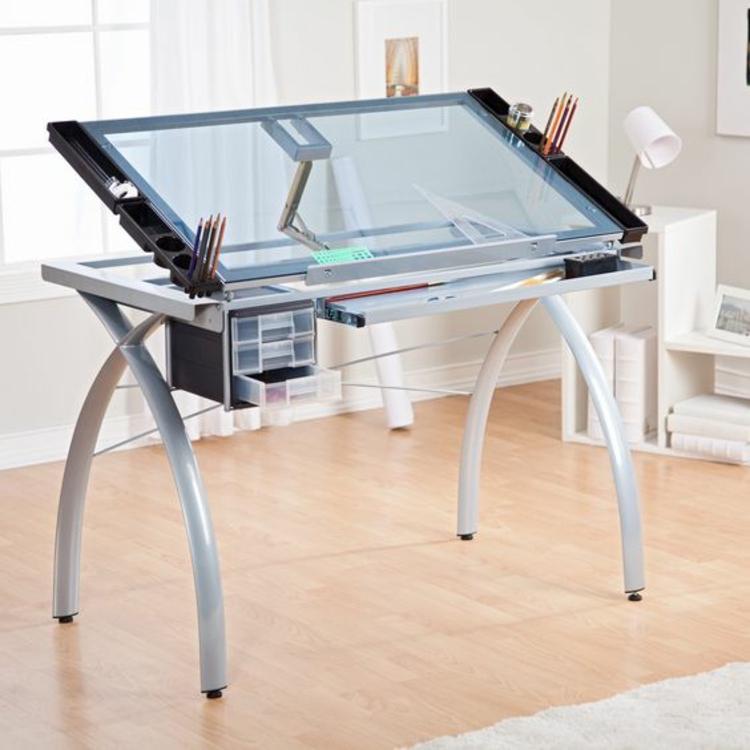 moderne Büroeinrichtung Büromöbel Glasschreibtisch Home Office einrichten
