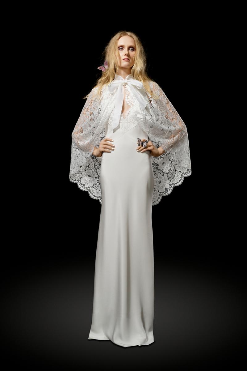 moderne Brautkleider Elizabeth Fillmore Hochzeitskleid mit Spitze Cape