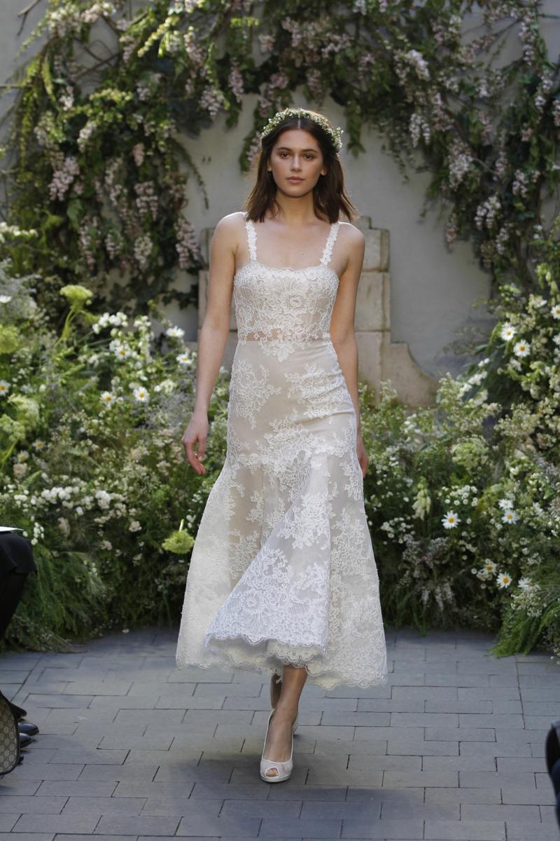 moderne Hochzeitskleider Monique Lhuillier Brautkleid wadenlang