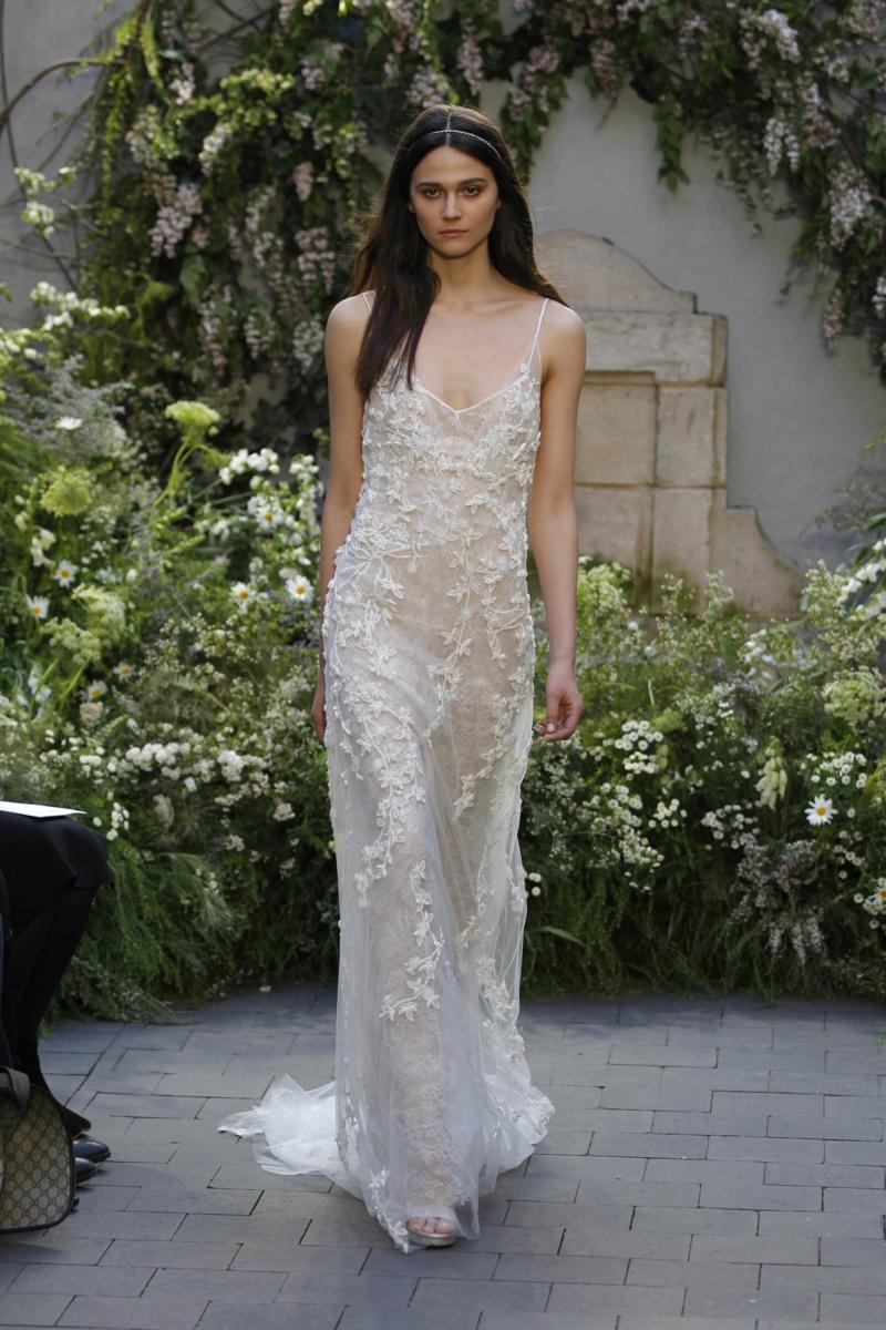 moderne Brautkleider Monique Lhuillier Brautmode Spitzenkleid