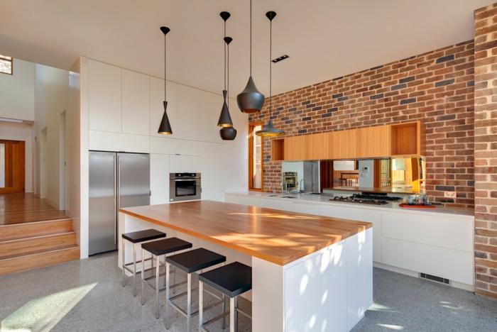 moderne küchengestaltung feng shui einrichtung pendelleuchten offene ziegelsteinwand