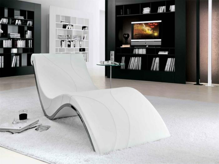 moderne sessel entspannungssessel weiß futuristisch wohnideen