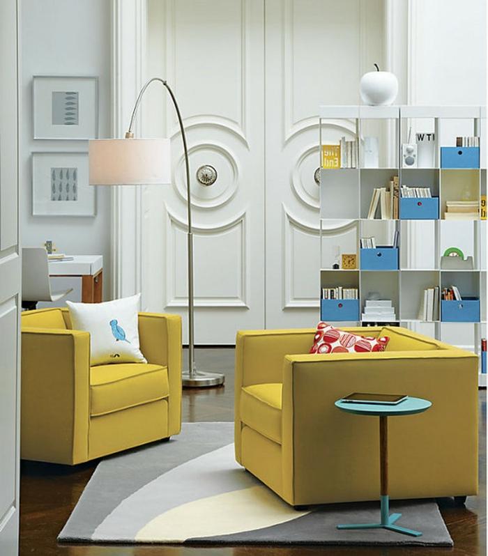 moderne sessel gelb weißer teppich wohnbereich