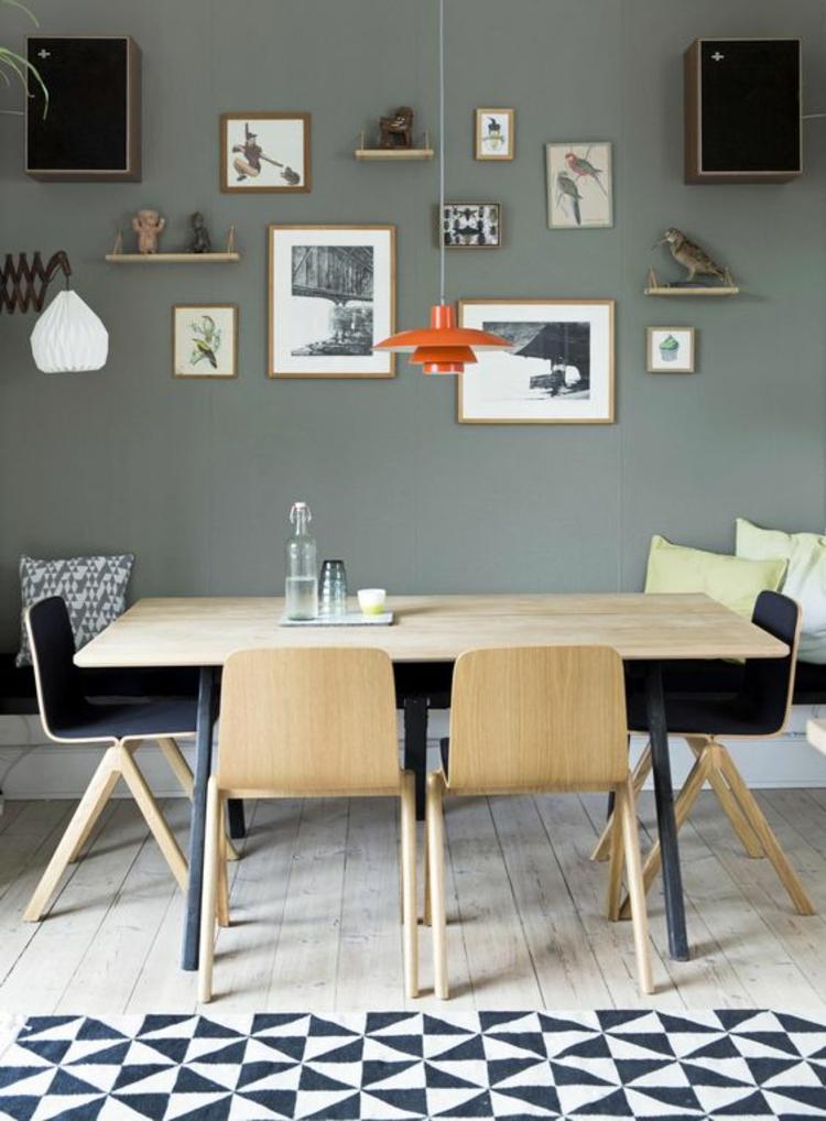 modernes Esszimmer einrichten Einrichtungsbeispiele Bank und Stühle