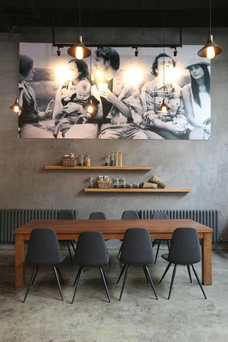 modernes Esszimmer einrichten Einrichtungsbeispiele Fotowand