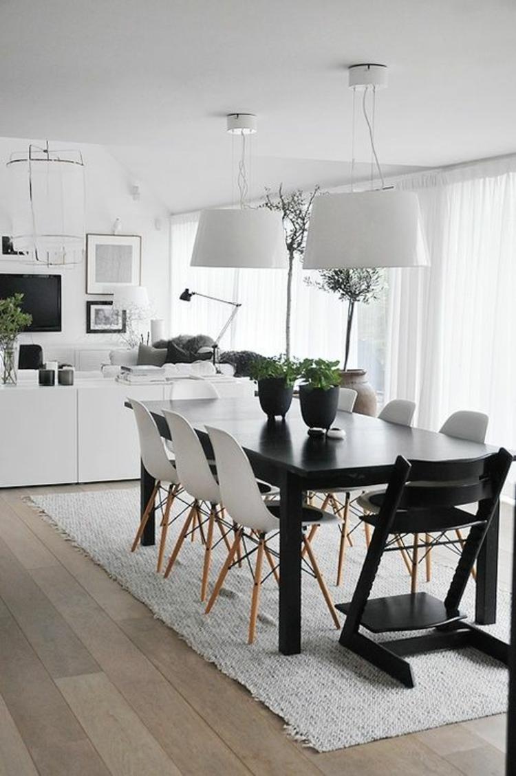 modernes Esszimmer einrichten Einrichtungsbeispiele schwarz weiß Möbel