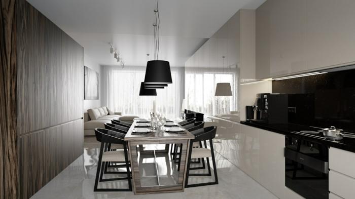 modernes esszimmer ausgefallener esstisch bequeme stühle pendelleuchten weißer boden