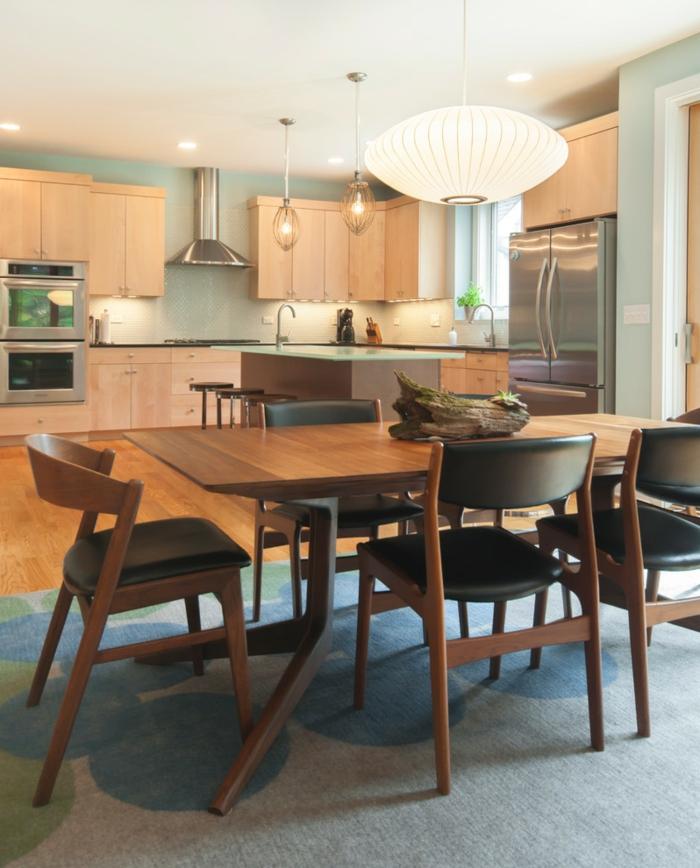 modernes esszimmer essbereich küche teppich