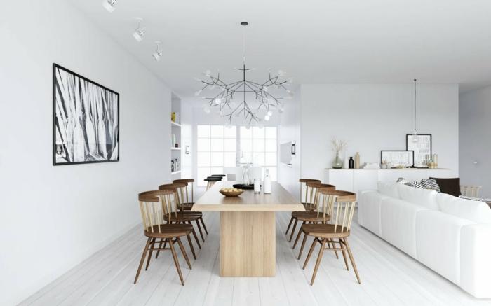modernes esszimmer holzmöbel weiße wände