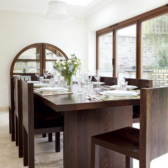 modernes esszimmer massiver esstisch elegantes möbel set