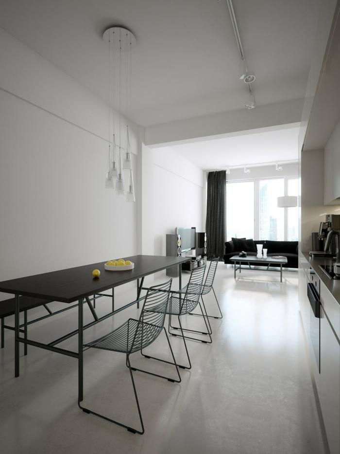 Modernes Esszimmer Minimalistisch Schwarzer Esstisch Offener Wohnplan