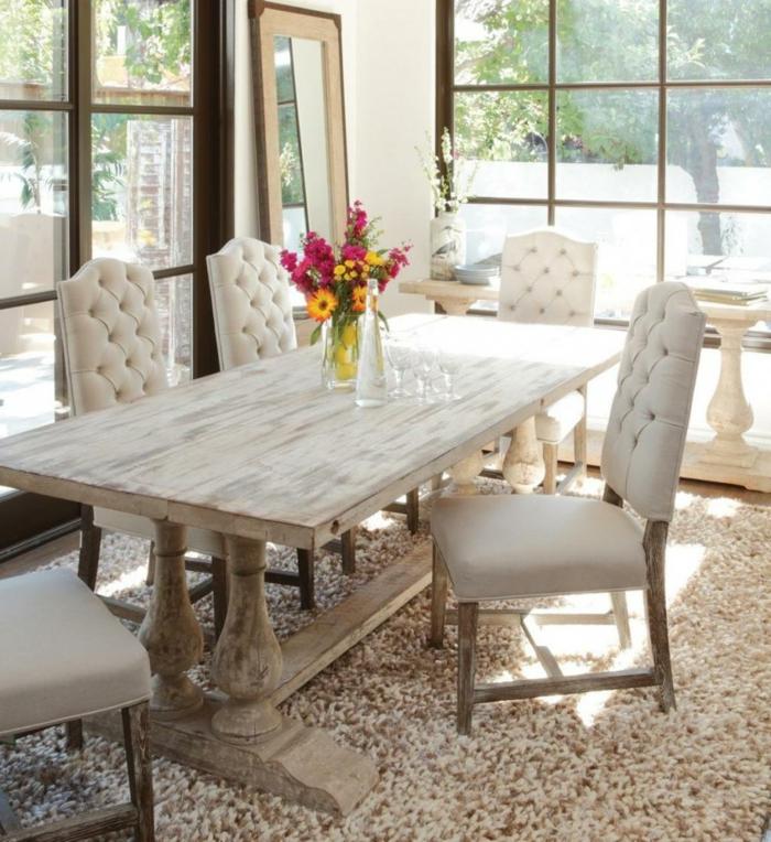 modernes esszimmer rustikale esszimmermöbel teppich spiegel