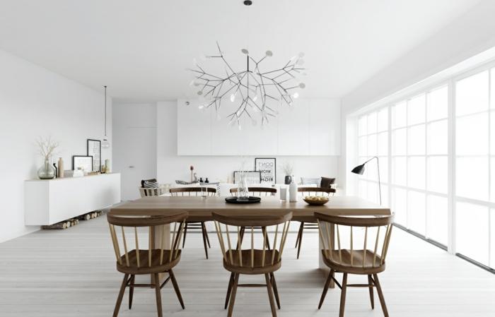 modernes esszimmer rustikaler essbereich weißes ambiente schwarze akzente