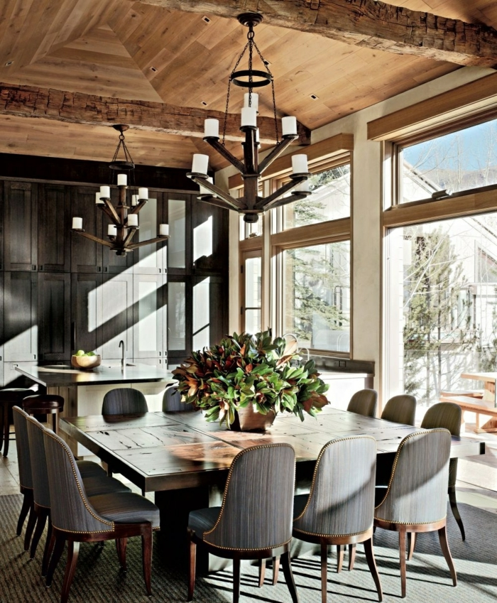 modernes esszimmer schicke stühle pflanze eleganter esstisch