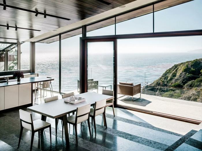 modernes esszimmer stilvolle möbel panoramafenster