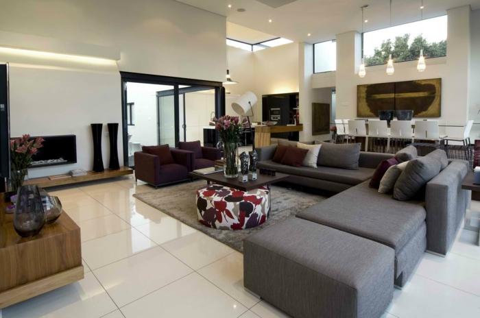 modernes wohnzimmer einrichten ecksofa bodenbelag wohnzimmer dekovasen