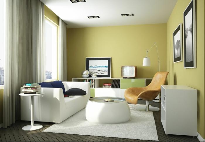 modernes wohnzimmer einrichten klein weißer teppich sessel grüne wandfarbe