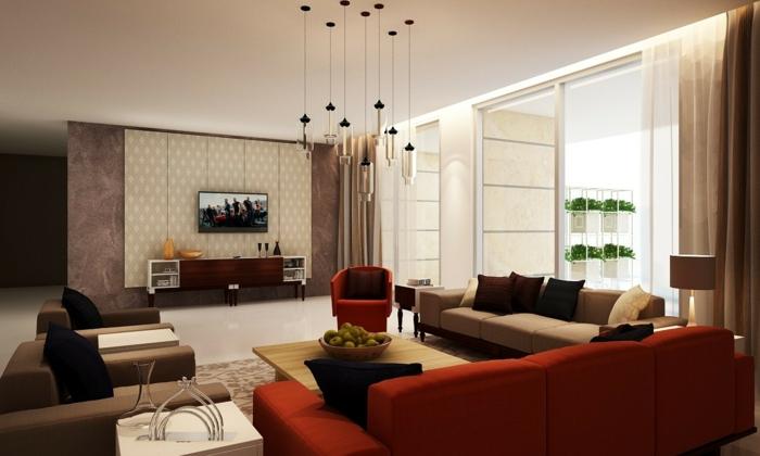 modernes wohnzimmer einrichten rote möbel braunnuancen