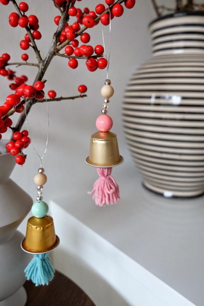 nachhaltiger konsum kaffeekapsel upcycling ideen anhänger dekoration