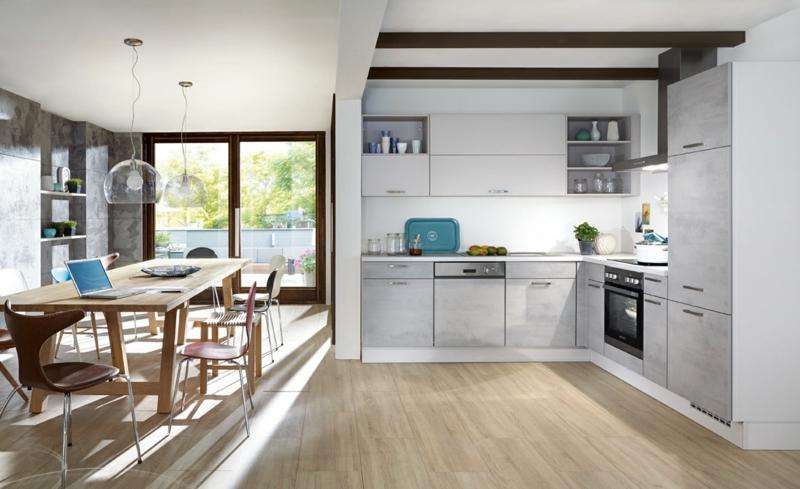 offene Küche mit Holzboden Küchentrends Stein Beton und Metall