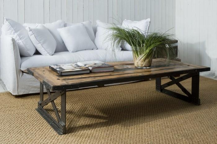 origineller möbel trend weisses sofa sisal teppich