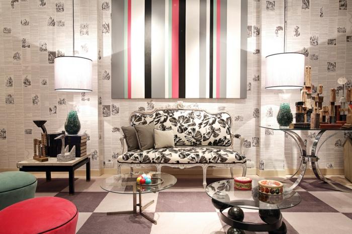 retro innendesign 50er jahre stil möbel sofa runde beitstelltische pendelleuchten wandtapete